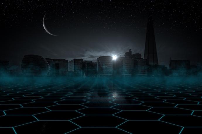 A futuristic city skyline at night